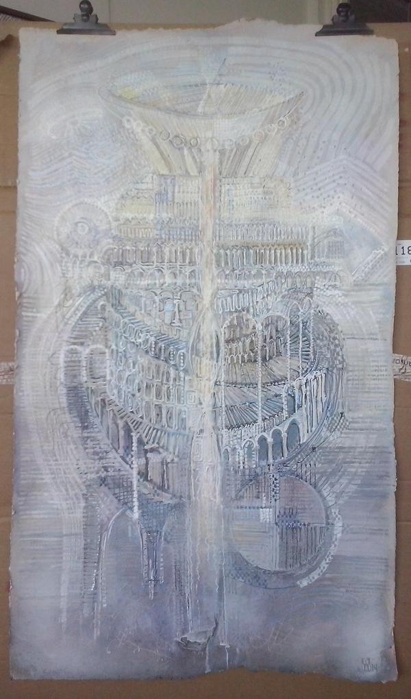 'What is next?' Stad van de toekomst (part I) gemengdetechniek op acryl en krijt olifantenpoeppapier formaat 75 bij 130 cm VERKOCHT