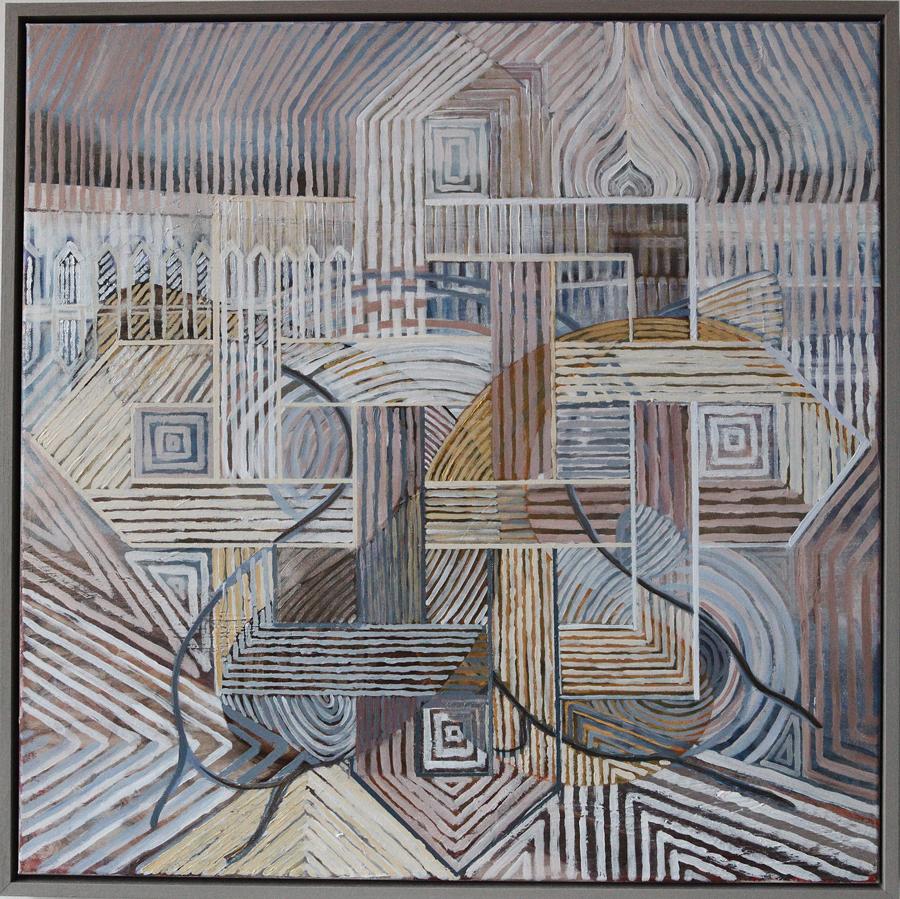 'Tempel' 70 bij 70 cm, acryl op linnen, houten lijst Prijs: € 1.250,00