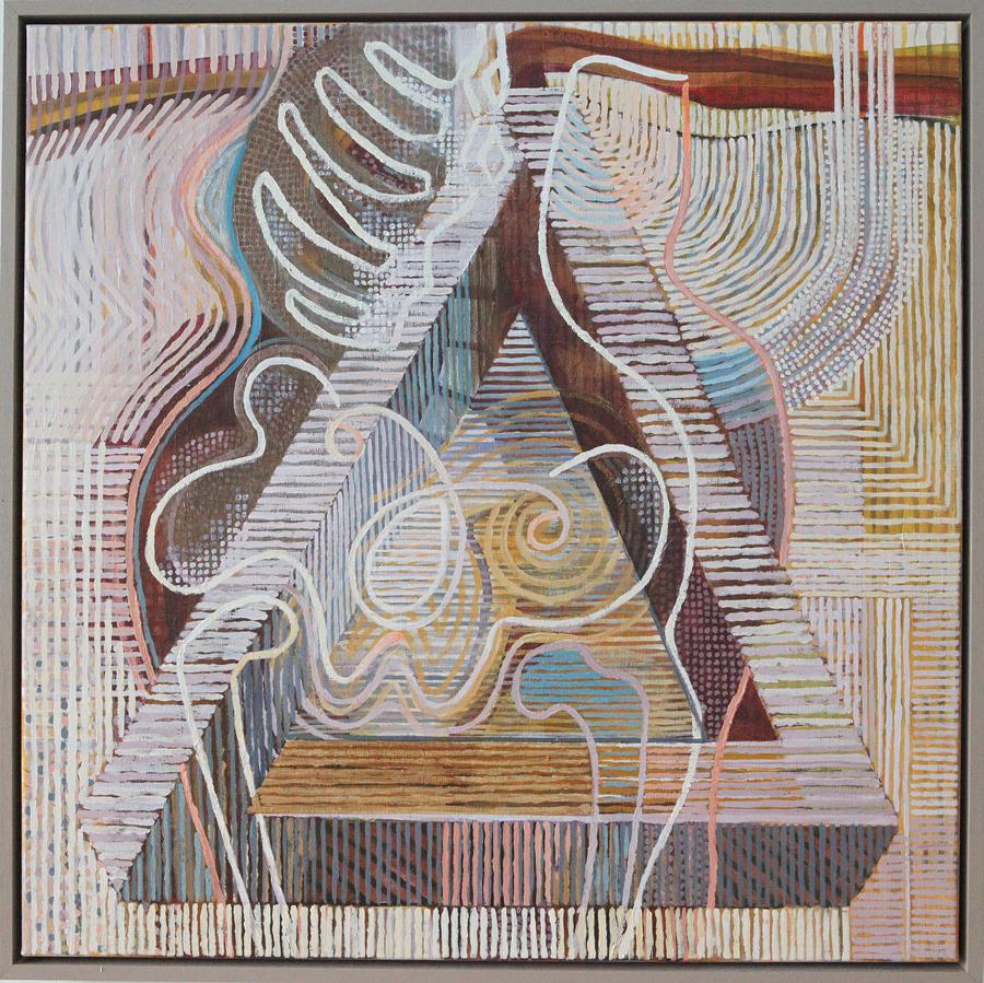 'Innerlijke ruimte' 70 bij 70 cm acryl op linnen houtenlijst Prijs: € 1.250,00