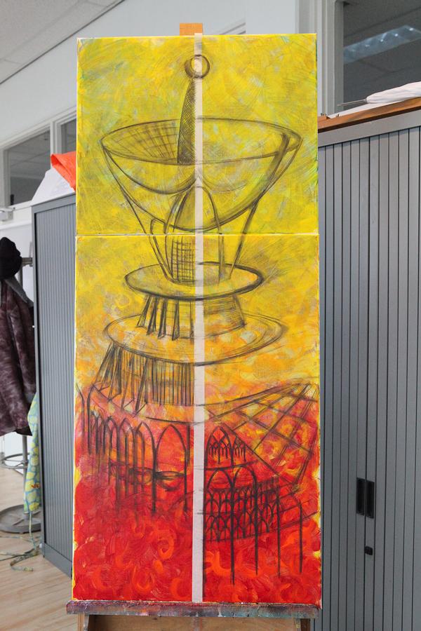werk in uitvoering: Duurzame stad acryl op linnen
