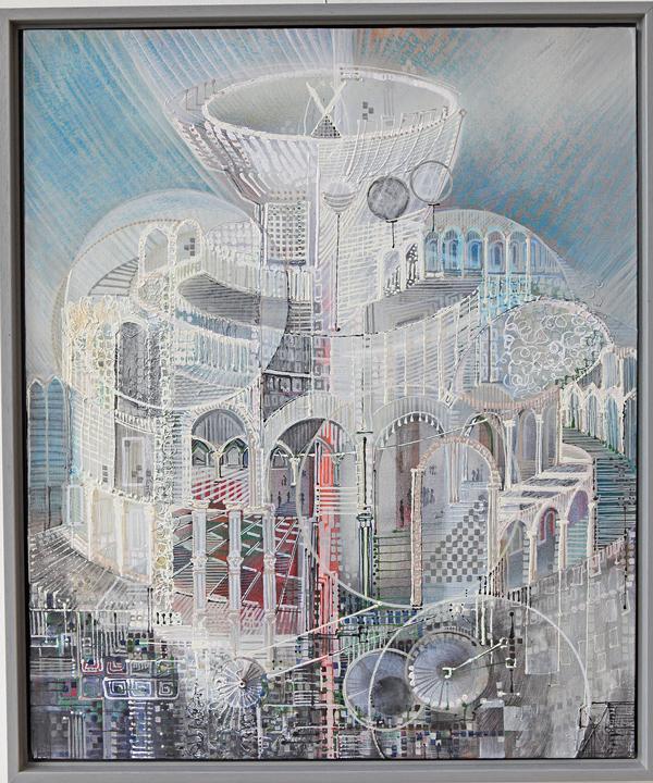 'What is next?' stad van de toekomst (part 0) Prijs € 500,00 gemengde techniek op board 50/60 cm