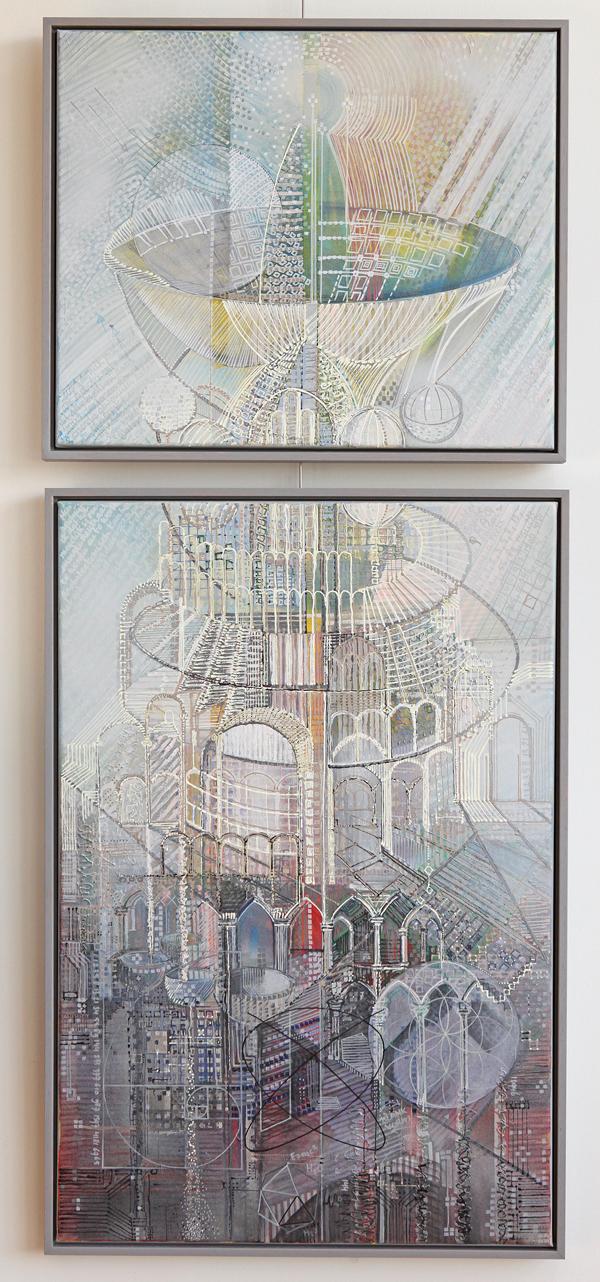 'What is next?' Stad van de toekomst (part III) tweeluik formaat 60/50 en 60/90 cm gemengde techniek op linnen. VERKOCHT