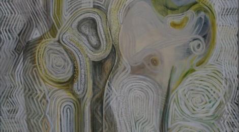 Titel: 'Droom van de Leegte' Acryl op linnen, formaat 150 bij 150 cm.