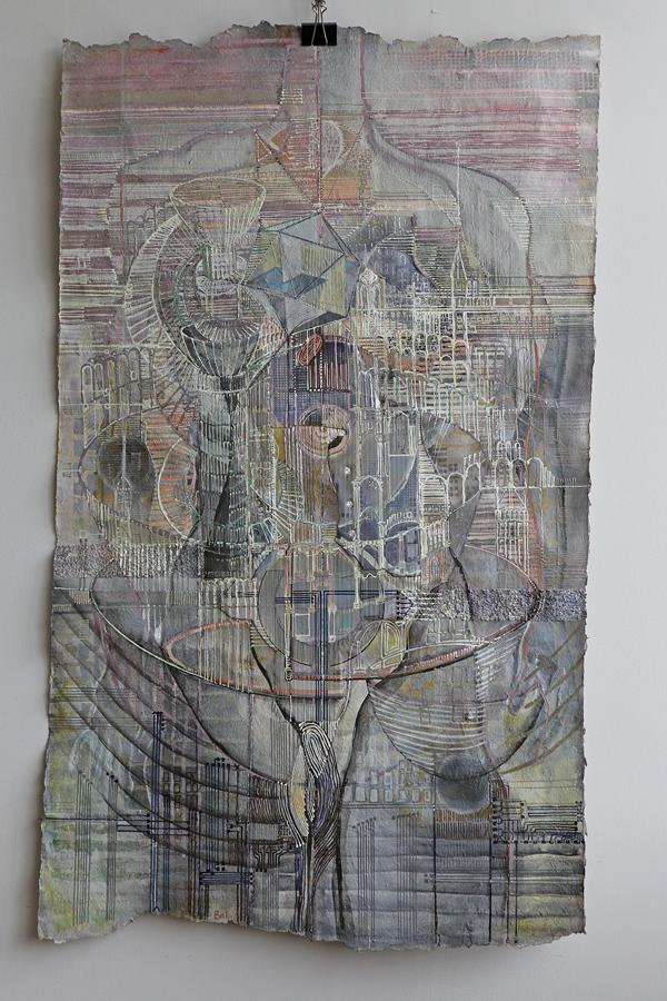 What's next? Map of now III gemengde techniek acryl en krijt op olifantenpoeppapier 75 bij 125 cm Prijs: € 750,00