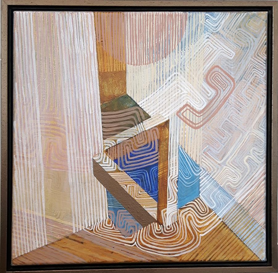 What´s next? With no end, acryl op linnen in houten lijst 40 bij 40 cm, Prijs € 450,00