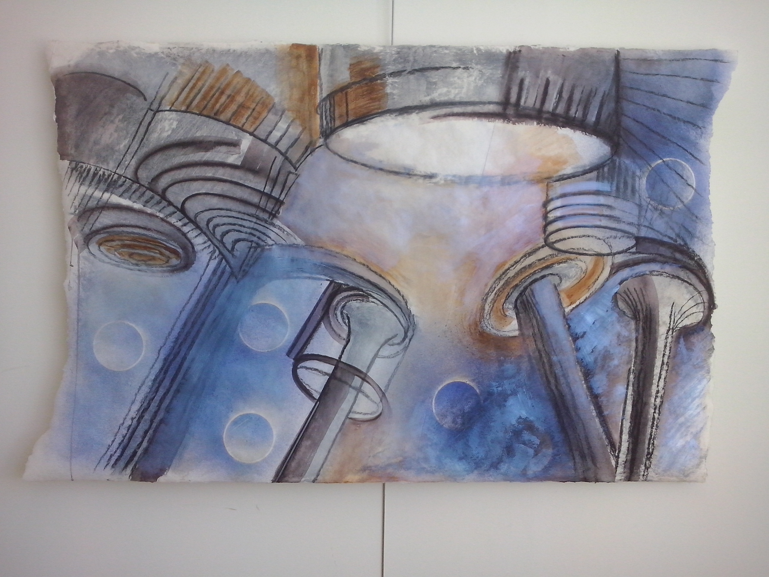 ´What´s next?´ Sketch of expansive inner space, part I gemengde techniek op handgeschept papier. Formaat 70 bij 110 cm. Prijs € 500,00